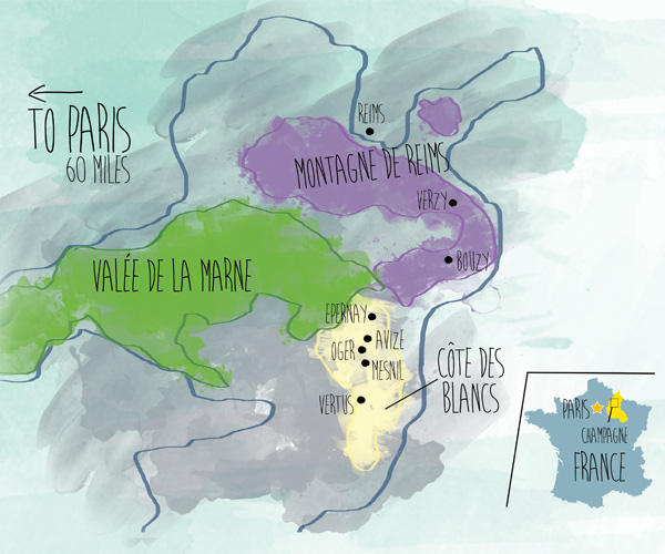map of Champagne region in France. illustration by Vivian Ho